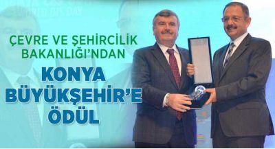 Çevre ve Şehircilik Bakanlığı`ndan Konya Büyükşehir belediyesi`ne Ödül