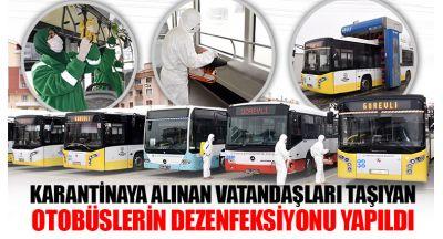 Karantinaya Alınan Vatandaşları Taşıyan Otobüslerin Dezenfeksiyonu Yapıldı