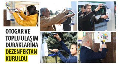 Otogar ve Toplu Ulaşım Duraklarına Dezenfektan Kuruldu