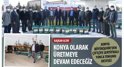 Konya Büyükşehir'den Çiftçiye Sertifikalı Yonca Tohumu Desteği