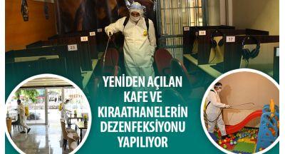 Yeniden Açılan Kafe ve Kıraathanelerin Dezenfeksiyonu Yapılıyor