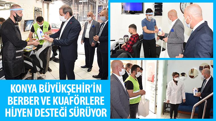 Konya Büyükşehir'in Berber ve Kuaförlere Hijyen Desteği Sürüyor