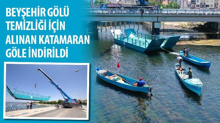 Beyşehir Gölü Temizliği İçin Alınan Katamaran Göle İndirildi