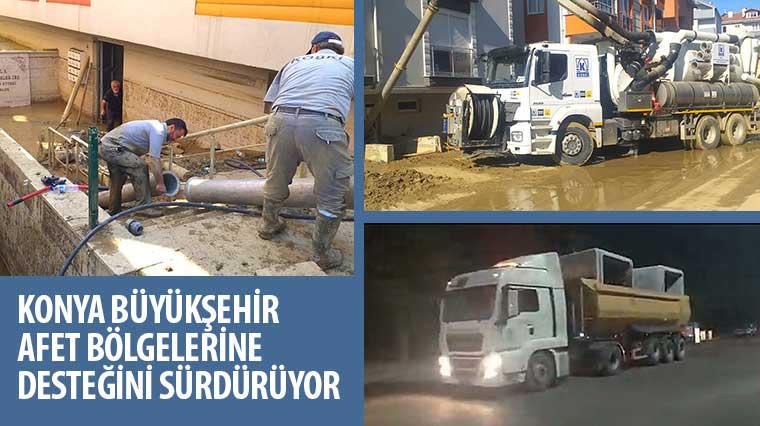 Konya Büyükşehir Afet Bölgelerine Desteğini Sürdürüyor